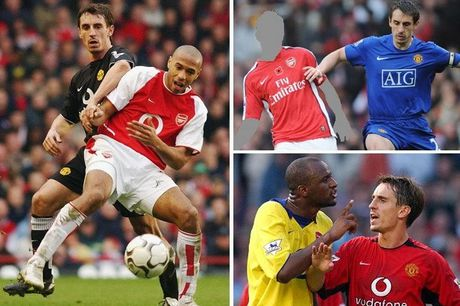 Gary Neville va doi hinh xuat sac nhat cua... Arsenal - Anh 1