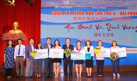 Nhan vien Cty LG Display Hai Phong gianh giai nhat cuoc thi Tieng Han lan II - Anh 1
