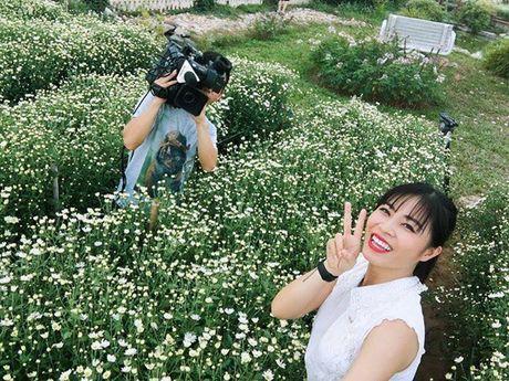 MC Hoang Linh xinh dep giua vuon cuc hoa mi - Anh 4
