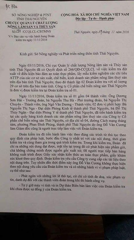 Giam doc cong ty che bien nong san Thai Nguyen hanh hung lanh dao Ban kiem tra lien nganh - Anh 1