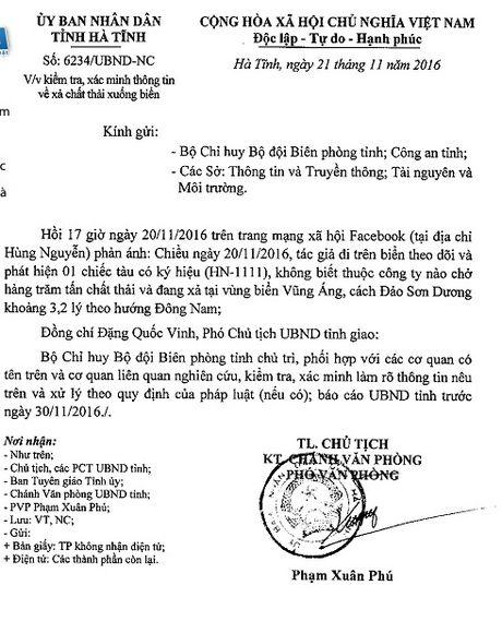 Xac minh thong tin tren Facebook ve viec xa chat thai xuong bien tai Ha Tinh - Anh 1