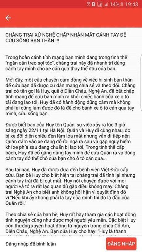 Thuc hu chang trai xu Nghe cho o to can qua tay minh de cuu ban - Anh 2