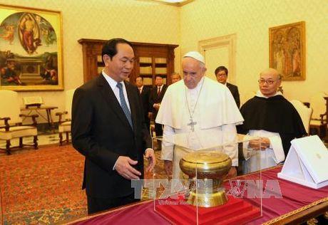 Chu tich nuoc Tran Dai Quang hoi kien Giao hoang va Thu tuong Vatican - Anh 1