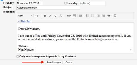Thiet lap tra loi tu dong tren Outlook.com, Outlook 2016 va Gmail - Anh 15