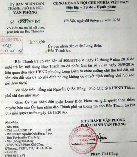 UBND quan Long Bien (Ha Noi): Khong thuc hien chi dao cua thanh pho - Anh 1