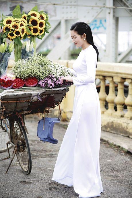 Mai Thanh Ha dep nao long voi ao dai giua troi dong Ha Noi - Anh 1