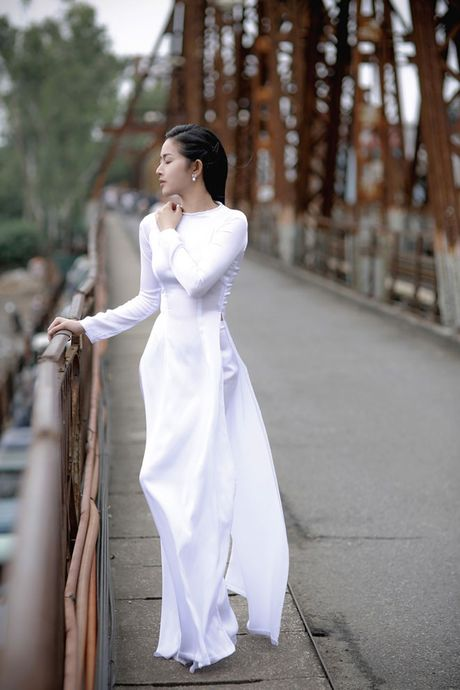 Mai Thanh Ha dep nao long voi ao dai giua troi dong Ha Noi - Anh 3