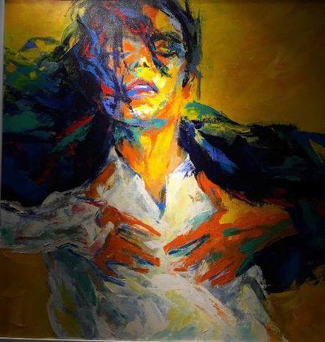 Trien lam tranh chan dung Michael Jackson tai Ha Noi - Anh 2