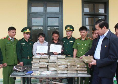 Bat giu 2 doi tuong nguoi Lao van chuyen 60kg can sa ve Viet Nam - Anh 1