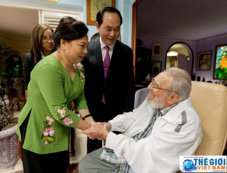 Hinh anh Lanh tu Cuba Fidel Castro trong cuoc gap Chu tich nuoc Tran Dai Quang - Anh 4