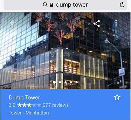 Thap cua Donald Trump bi tan cong bien thanh 'thap rac' tren Google Maps - Anh 1