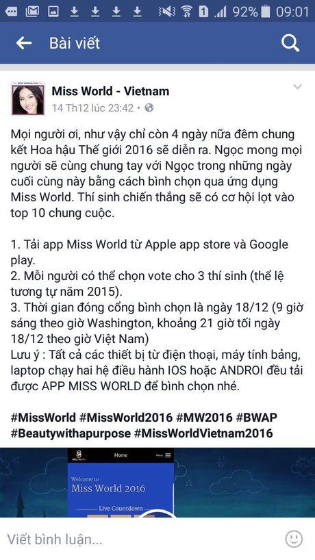 Huong dan binh chon Miss World 2016 cho Dieu Ngoc dung cach - Anh 1