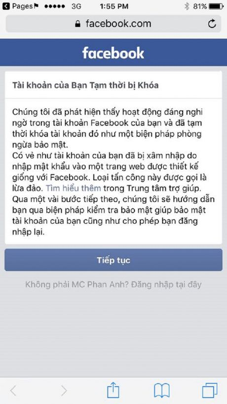 Facebook cua MC Phan Anh bat ngo bi khoa - Anh 3