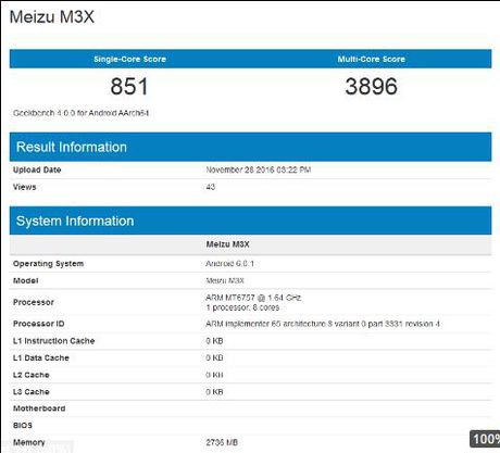Meizu M3X va Meizu Pro 6 Plus lo thong so tren GeekBench - Anh 1