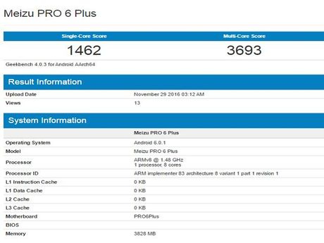 Meizu M3X va Meizu Pro 6 Plus lo thong so tren GeekBench - Anh 2