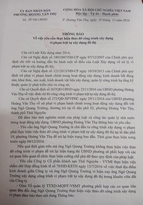 Thai Nguyen: Yeu cau thao do cong trinh vi pham truoc ngay 04/12/2016 - Anh 1