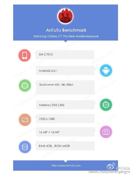 Galaxy C7 Pro lo cau hinh camera truoc - sau 16MP - Anh 2