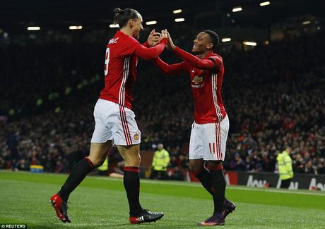 Ibrahimovic va Martial lap cu dup, Manchester United vui dap West Ham - Anh 1