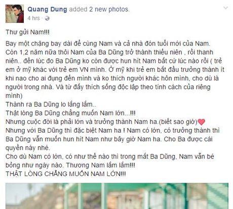 Quang Dung viet tam thu cho con trai, Jennifer Pham co chanh long? - Anh 1