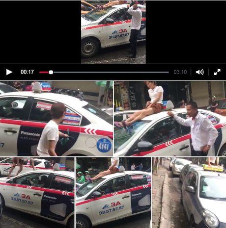 Nguoi phu nu treo len noc capo taxi 'mua', nao loan pho Ha Noi - Anh 1