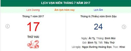 Am lich hom nay (24.6, tuc 17.7 duong lich): Nen xuat hanh gio nao? - Anh 1