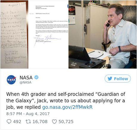 NASA hoi dap buc thu xin viec cua 've binh dai ngan ha' 9 tuoi - Anh 3
