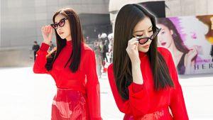 Hoa hậu Lam Cúc nổi bật sắc đỏ trong ngày đầu Seoul Fashion Week