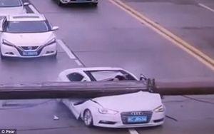 Cần trục khổng lồ đè bẹp xe ôtô, tài xế sống sót thần kỳ