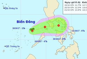 Ngày mai, vùng áp thấp sẽ ra khỏi Biển Đông