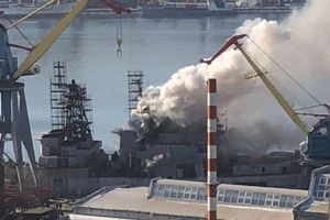 Khu trục hạm Nga bốc cháy ở Viễn Đông