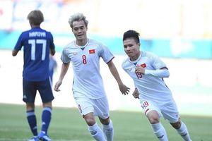 Quang Hải ghi bàn vào lưới U23 Nhật Bản từ sai lầm thủ môn