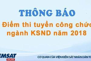Thông báo điểm thi tuyển công chức ngành KSND năm 2018