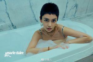 Bà xã Huỳnh Hiểu Minh cắt tóc cua nam tính, tự tin tạo dáng trên tạp chí
