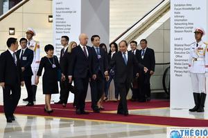 Toàn cảnh lễ đón các trưởng đoàn tham dự WEF ASEAN 2018