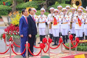 Toàn cảnh lễ đón Tổng thống Indonesia Joko Widodo tại Phủ Chủ tịch