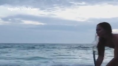 Cô nàng liều lĩnh kéo cá mập trắng mắc kẹt về biển